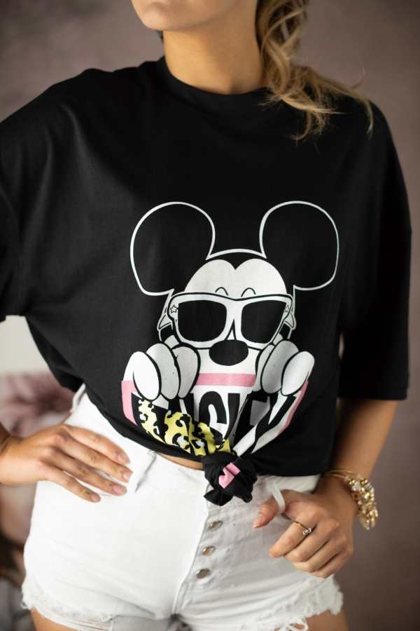 T-shirt mouse with glasses czarny