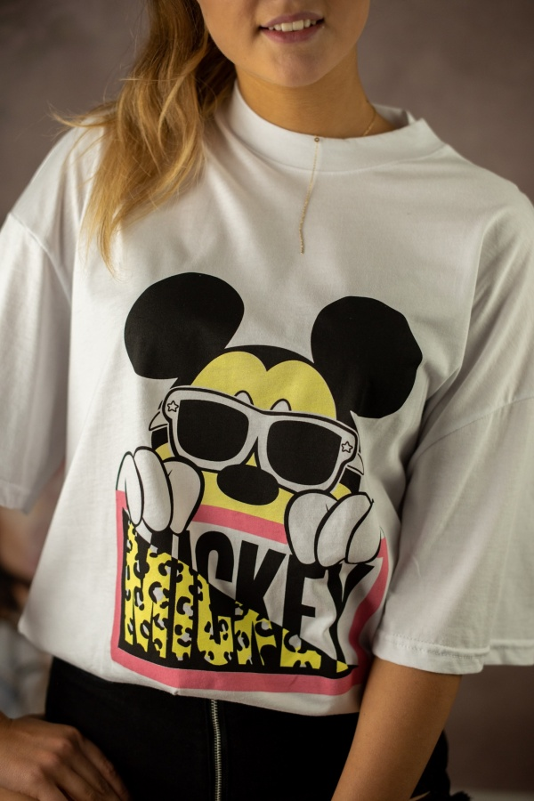 T-shirt mouse with glasses biały