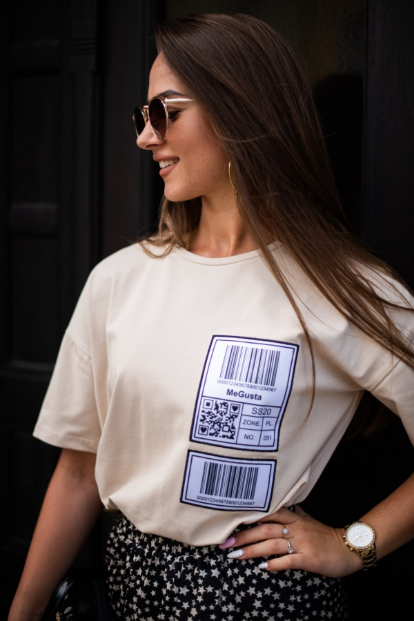 T-shirt barcode beżowy