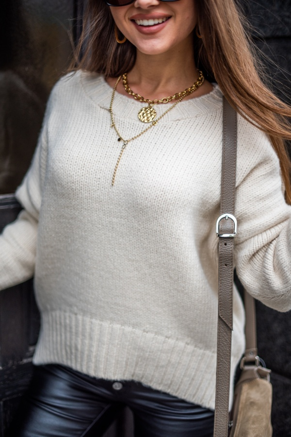 Sweter classic beżowy