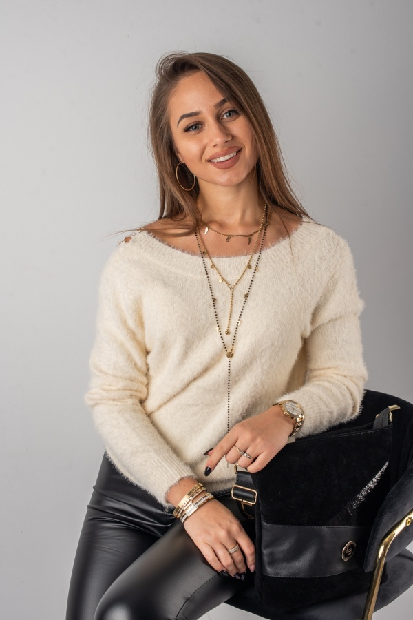 Sweter lacy beż 1