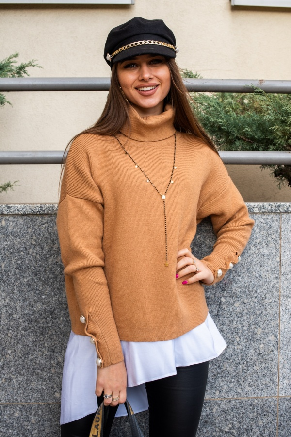 Sweter buttons beżowy