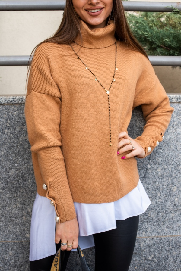 Sweter buttons beżowy 2