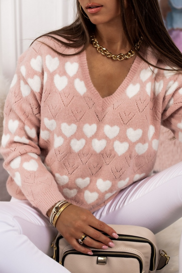 Sweter Heart pudrowy