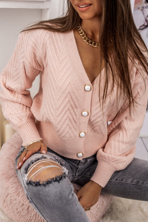 Sweter pudrowy zapinany pearl