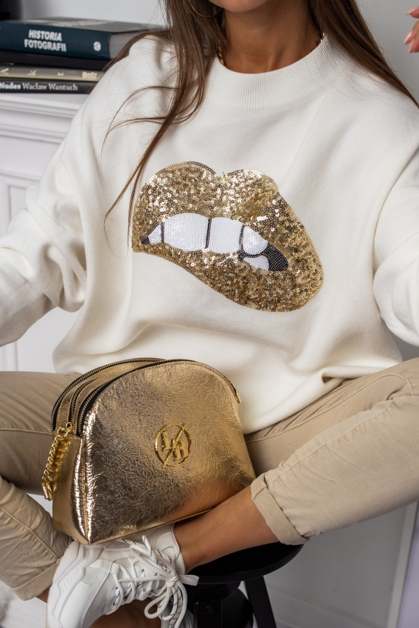 Sweter Lips gold