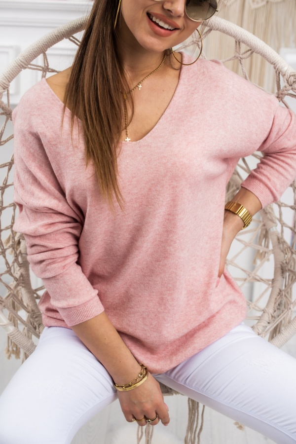 Sweter basic v pudrowy 1