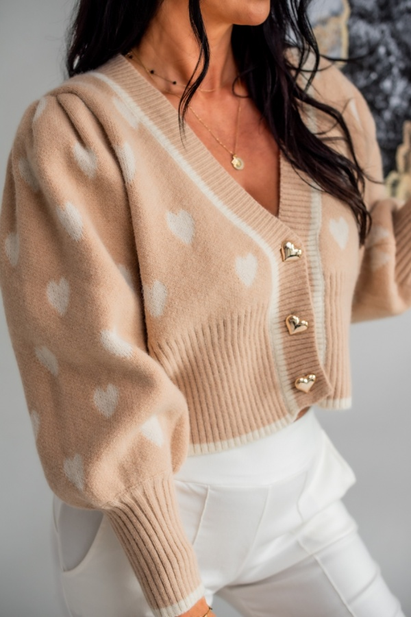 Sweter Hearts beżowy