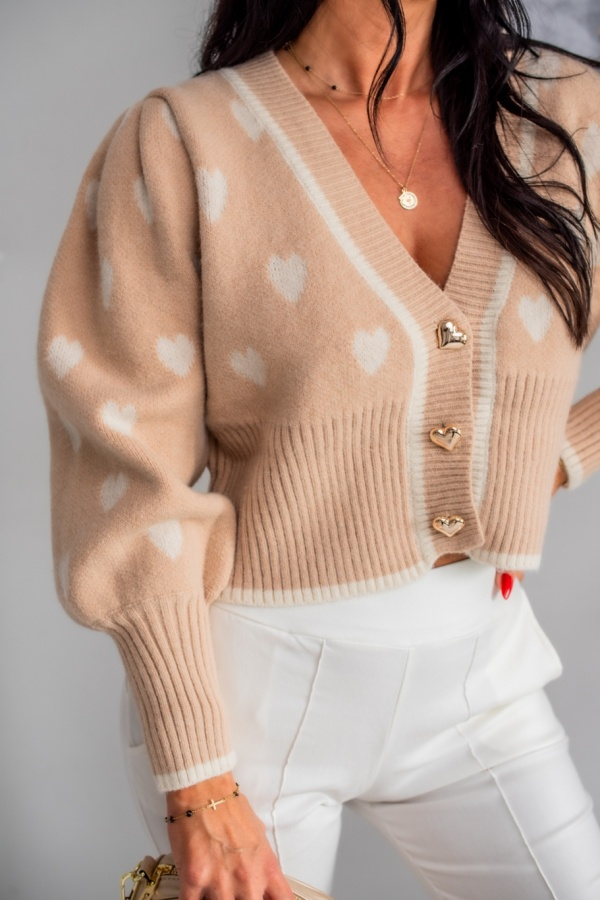 Sweter Hearts beżowy 2